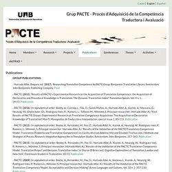 Grup PACTE - Procés d'Adquisició de la Competència Traductora i Avaluació