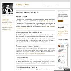 Isabelle Quentin - Publications et conférences