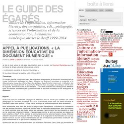 Appel à publications. « La dimension éducative du document numérique »: