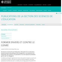 Former envers et contre le genre - Publications de la Section des Sciences de l'éducation