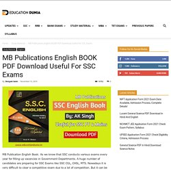 MB Publications English BOOK PDF Download Useful For SSC Exams