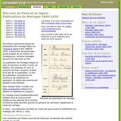 Etat civil de Paris et région parisienne : publications de mariages - GeneaService
