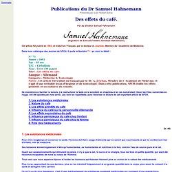 Des effets du café - Publications du Dr Samuel Hahnemann Présenté par le Dr Robert Séror