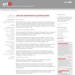 Publications - ERTé Culture informationnelle