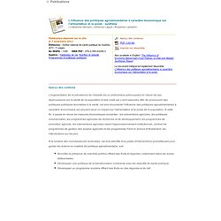 INSPQ 07/11/11 L'influence des politiques agroalimentaires à caractère économique sur l'alimentation et le poids : synthèse