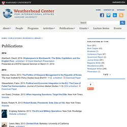 Weatherhead Center Working Paper Series