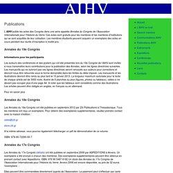 Publications de l'Association Internationale pour l'Histoire du Verre
