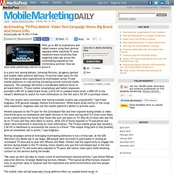 Publications Multitasking 'TV-Plus-Mobile' Video Test Campaign Shows Big Brand And Intent Lifts 04/16