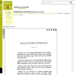 Publications nouvelles