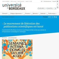 Le mouvement de libération des publications scientifiques est lancé - Université de Bordeaux