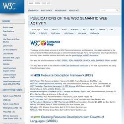 Publications of the W3C Semantic Web Activity