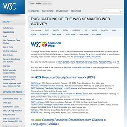 Publications of the W3C Semantic Web Activity