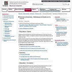 Publications - Femmes et hommes - Statistiques et études sur la France
