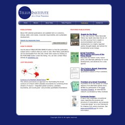 (USA-instituto interesante) Publications - The Tellus Institute for a Great Transition
