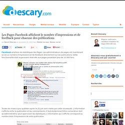 Les Pages Facebook affichent le nombre d'impressions et de feedback pour chacune des publications