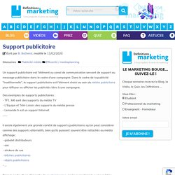 Support publicitaire - Définitions Marketing