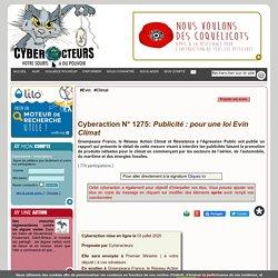Cyberaction N° 1275: Publicité : pour une loi Evin Climat