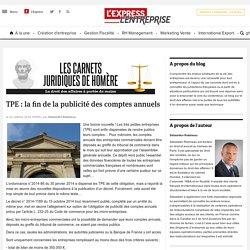 TPE : la fin de la publicité des comptes annuels