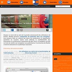 Publicité dans Firefox : la tuile de Mozilla