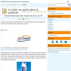 Le Latin se cache dans la publicité - Site du collège Jules Michelet (Angoulême)