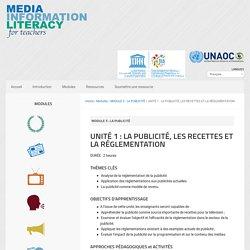 UNITÉ 1 : LA PUBLICITÉ, LES RECETTES ET LA RÉGLEMENTATION