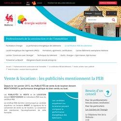 Vente & location : les publicités mentionnent la PEB - Site énergie du Service Public de Wallonie