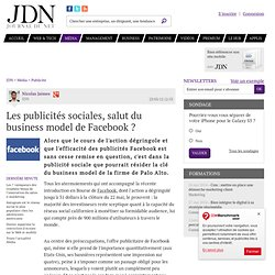 Les publicités sociales, salut du business model de Facebook ?