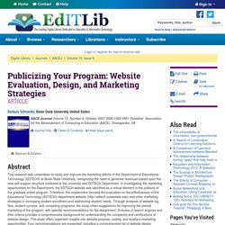 Publicizing Your Program: Website Evaluation, Design, and Marketing Strategies