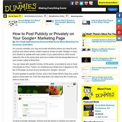 How to Post Publicly or Privately on Your Google Marketing Page - For Dumm