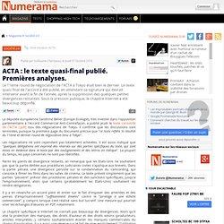 ACTA : le texte quasi-final publié. Premières analyses.