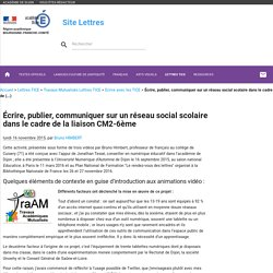 Écrire, publier, communiquer sur un réseau social scolaire dans le cadre de la liaison CM2-6ème