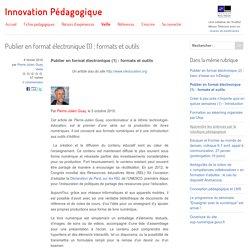 Publier en format électronique (1) : formats et outils
