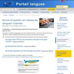 Ecrire et publier en classe de langues vivantes