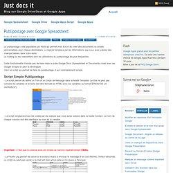 Publipostage avec Google Spreadsheet