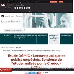 Étude DGMIC « Lecture publique et publics empêchés. Synthèse de l'étude réalisée par le Crédoc » (2017)