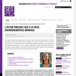 L'action publique face à la crise environnementale mondiale - Amandine Orsini