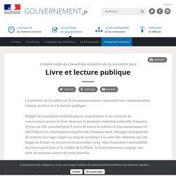 Livre et lecture publique - Compte rendu du Conseil des ministres du 25 novembre 2015