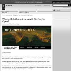 Why publish Open Access with De Gruyter Open?