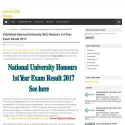 Published National University (NU) Honour's 1st Year Exam Result 2017 - Latest Job News