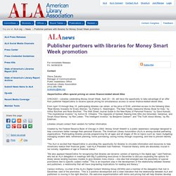 Publisher partners with libraries for Money Smart Week promotion