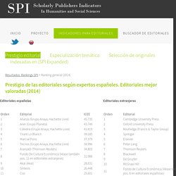 SPI. Scholarly Publishers Indicators in Humanities and Social Sciences
