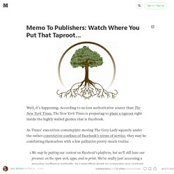 Memo To Publishers: Watch Where You Put That Taproot…