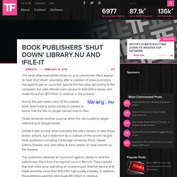 Book Publishers 'Shut Down' Library.nu and iFile-it