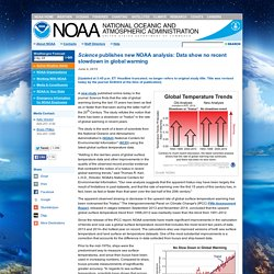 Science publishes new NOAA analysis: Data show no recent slowdown in global warming.