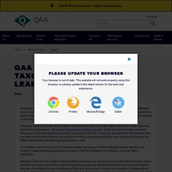 QAA publishes 'building a taxonomy for digital learning'