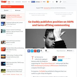 Go Daddy Publishes SOPA Position, Turns Off Comments
