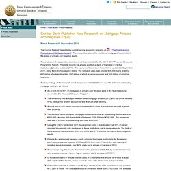 Central Bank of Ireland - Central Bank Publishes New Research on Mortgage Arrears and Negative Equity