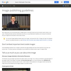 Image publishing guidelines - Webmaster Tools Help
