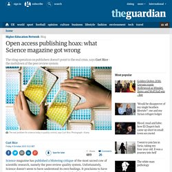 Open access publishing hoax: what Science magazine got wrong