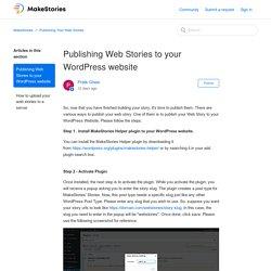 Publishing Web Stories to your WordPress website – MakeStories